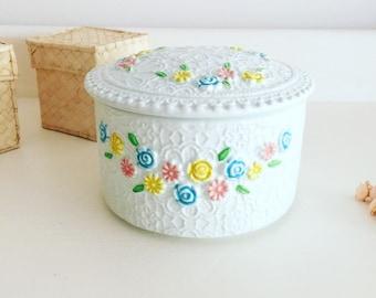pretty porcelain trinket box -mid century