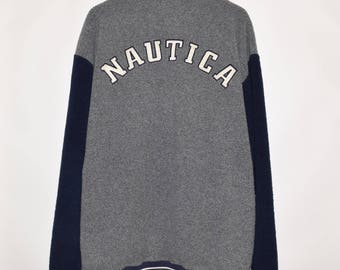 Rare Vintage VTG Nautica Half Zip Spell Out Acrylic Poly Sweater Jacket XXL