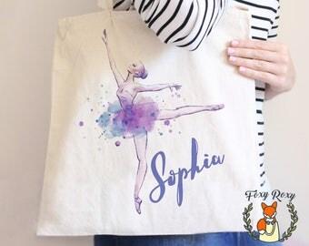 Ballet Bag | Ballerina Tote Bag | Watercolor Ballerina | Watercolor Tote | Dance bag | Dance Tote | Ballet Tote Bag | TB-053