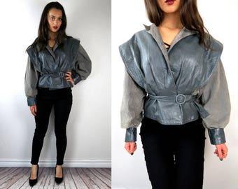 1980s leather fit and flare coat / 80s fit and flare jacket / extravagant biker motorcycle jacket / elegant punk leather jacket / punk coat