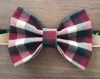 Christmas Check Dog Bow Tie