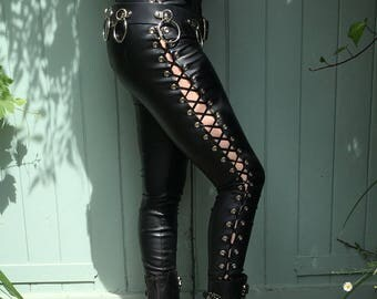 Black Faux Leather Lace Up Trousers