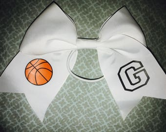 Girls Sports Bow basketball softball soccer baseball Cute Hair Accessory Initial Monogram Personalized Any Sport