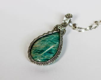 Long Gemstone Pendant Necklace - Amazonite with Wire Wrapped Chain