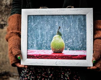 Pear Kitchen Decor Fruit Kitchen Modern picture Art No glass 3D rain drops Food Decoupage Fruit picture Dining Room Gift sister Wall Decor