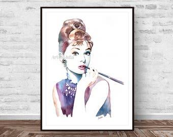 Audrey Hepburn art, fashion art print, breakfast at Tiffany