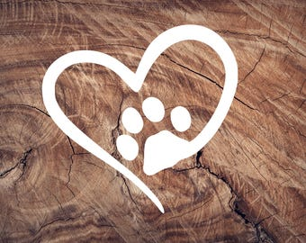sticker, decal, heart, paw