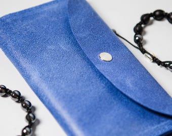 Woman Leather Blue Purse Iris Indigo