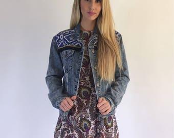 Boho inspired | Denim jacket | Festival jacket | Embellished | Distressed denim | Fringe