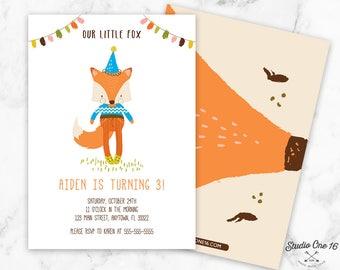 Boy Fox Birthday Invitation, Boy Fox Invitation, Fox Party Invite, Our Little Fox Invitation, Boys Invite, Woodland Birthday Invitation