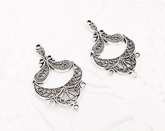 Sterling Silver Filigree Pendant, Silver Chandelier Earrings, Fancy Filigree, 32mm, SS057
