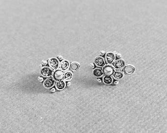 Sterling Silver Studs, Post Earrings, Filigree Earrings, Flower Earrings, Stud Earrings, EWRS029