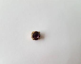 Plum cabochon swarovski crystal bead