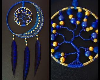 Dream catcher Moon and tree of life blue and gold