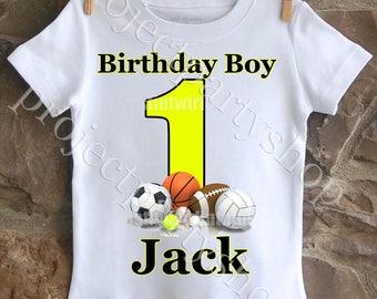 Sports Birthday Shirt, Basketball Birthday Shirt, Soccer Birthday Shirt, Football Birthday Shirt, Baseball Birthday Shirt