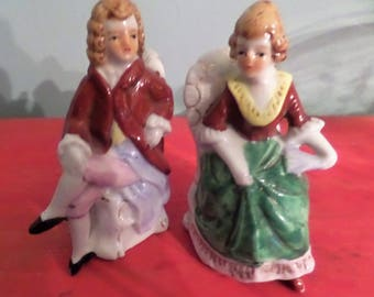 Colonial Couple Figurine.  Seated.  Japan