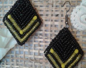 Black and yellow diamond earrings, geometric earrings, black rhombus earrings, black rhombus, black, a gift to a woman, a gift to a girl