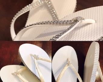 Sale beautiful summer beach wedding flip flops bride white satin starfish rhinestone mesh side white flower girl sandal sand pretty