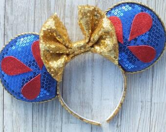 Snow White Minnie Ears, Minnie Mouse Ears, Mickey Ears, Disney Ears, Minnie Ears, Snow White Ears, Mickey Mouse Ears, Snow White