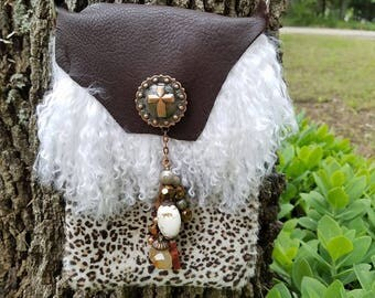 Cheetah Fur Cross Body Purse