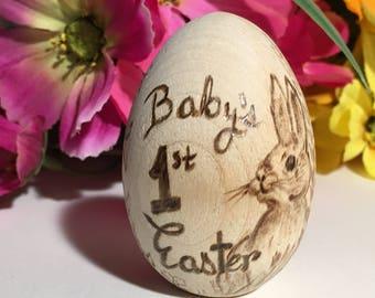 Easter gift etsy wooden easter egg babys first easter easter gift for kids personalized easter egg negle Images