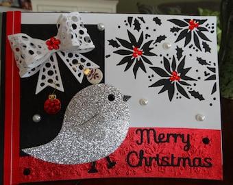 Sparkly bird Christmas Card