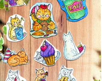 watercolor stickers, stickers set 11, sticker pack, cute sticker pack, animals stickers, art, cats stickers, stickers planner, sweet sticker