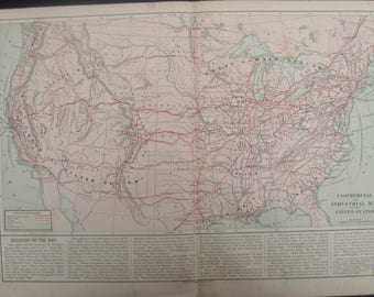 1882- Antique, Commercial & Industrial Regions in the U.S.- Lovely 135 year old, vintage map ,Home Décor