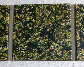 Triptych painting 4. Original abstract art Jackson Pollack inspired