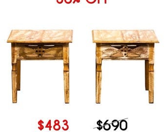 Reclaimed Solid Wood Side Tables -The Pair Moving Sale 30% Off