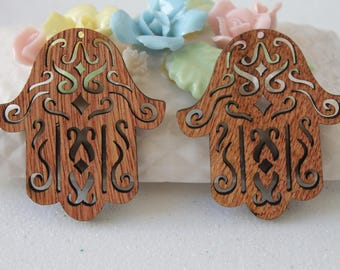 2 charms - jewelry - Hamsa pendant - wedding - decoration wood