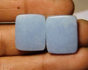 Pair AAA quality Blue Angelite gemstone Cabochons Very Gorgeous looking Excellent Quality Natural handmade Angelite 38.25cts, (19x16x4)mm