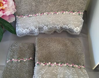 Elegant Gray and white lace trim Towel,