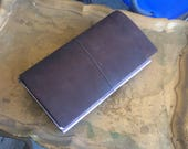 Brown Leather Travelers Notebook Midori-Style Journal with 8 Inserts and 4 Folders!