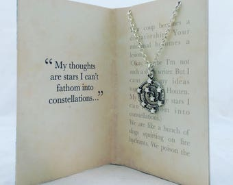 My thoughts are stars I cannot fathom into constellations- The Fault in Our Stars necklace. Booklover gift.