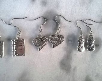 Hook Earrings With Charms/snowman/hearts/books