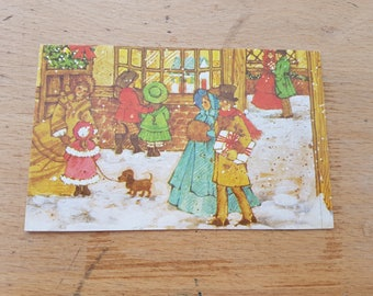 Small Vintage Christmas greetings card, brand new. 1970s, Victorian shop front scene