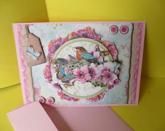 Card 3D (raised) flowers, birds and butterflies