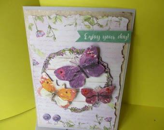 Card (embossed) 3-d butterflies purple pink and orange