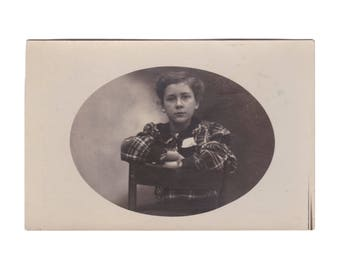 RPPC PEOPLE:  Girl in Plaid Dress - Real Photo Postcard, ca. 1920