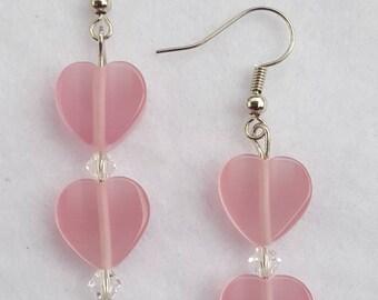 Pink Sparkling Heart Earrings