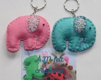 Elephant keyring - Elephant key chain - Flowery elephant keyring - Elephant gift - elephant lovers