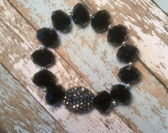 Gorgeous black and silver beaded stretch bracelet