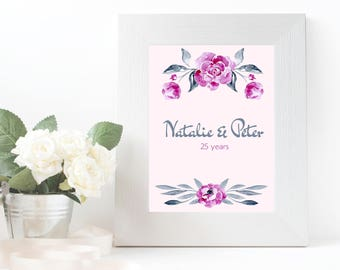 Printable anniversary gift , customized names and date, print, digital download