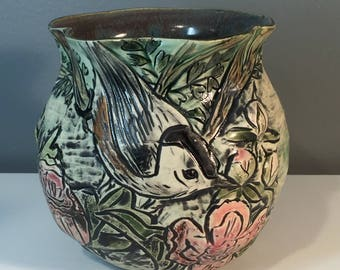 Nuthatch & Peony Sculptural Vase