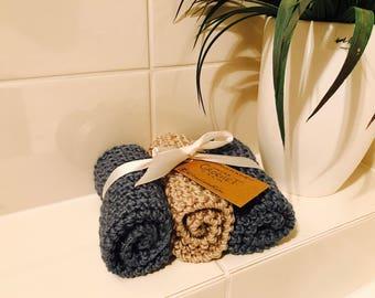 Bath | Washcloths | Crocheted | Blue & Taupe bundle | Gift Set