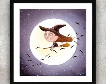 Little Witch Painting Art Print, Room Decor print, kids room art, nursery art print, childrens art, flying broom witch drawing, creepy cute