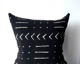 19x19 Vintage Indigo Mudcloth Pillow Cover, African fabrics, Zipper closure