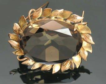 Elegant 14k Gold ~27ct Smoky Quartz Pin / Brooch
