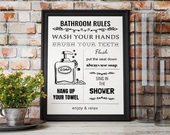 Bathroom Rules, Illustration, Bathroom Decor, Bathroom Print, Printable, Bathroom Ink Art, Instant Download